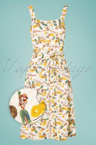 60s Chrissie Punch Button Midi Dress in Cream