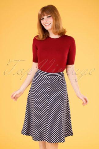 60s Juno Jersey Breton Stripe Skirt in Blue