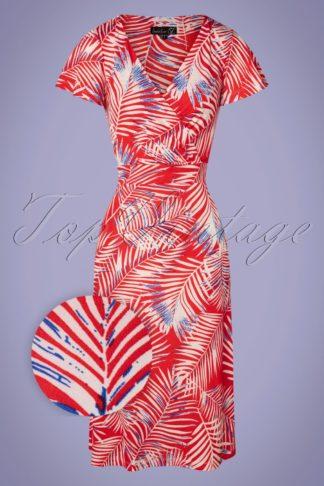 60s Pamela Leaves Midi Dress in Red