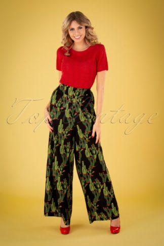 70s Alizee Cactusland Trousers in Black
