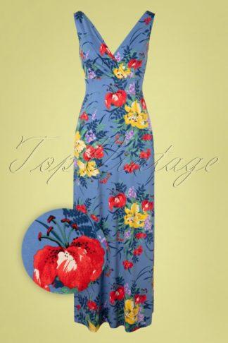 70s Ginger Gladioli Maxi Dress in River Blue