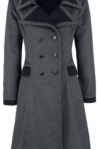 Banned Alternative Retro Coat Wollmantel grau