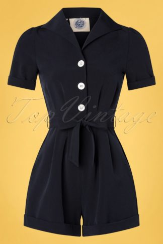 TopVintage exclusive ~ 40s Pretty Playsuit in Navy