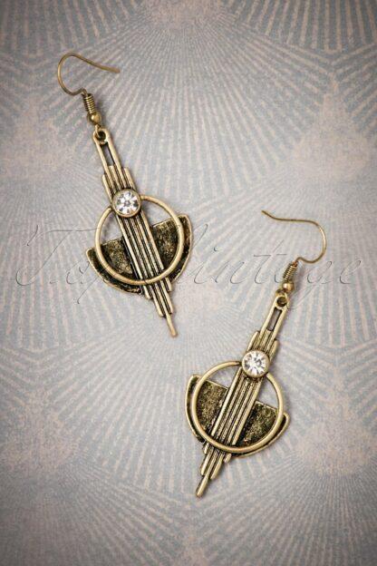 20s Art Deco Brass Earrings in Gold