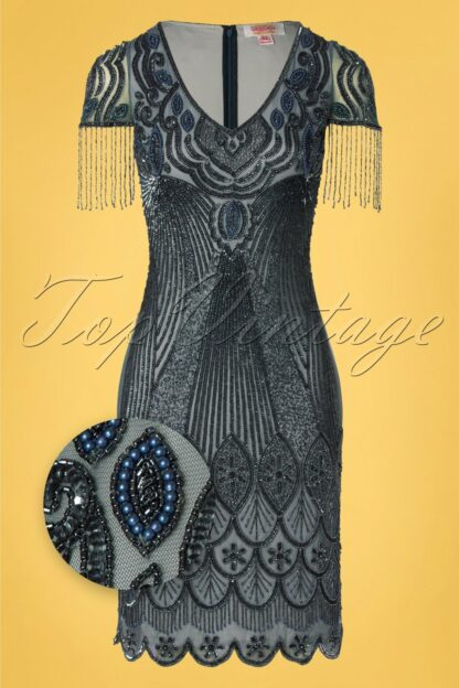 20s Marta Flapper Dress in Blue and Grey