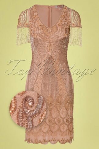 20s Marta Flapper Dress in Blush