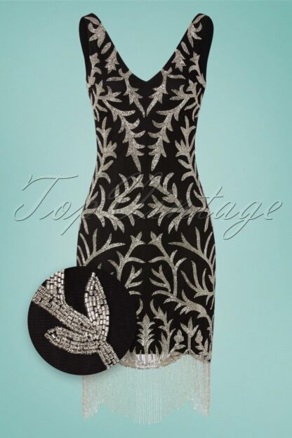 20s Senna Flapper Dress in Black and Silver