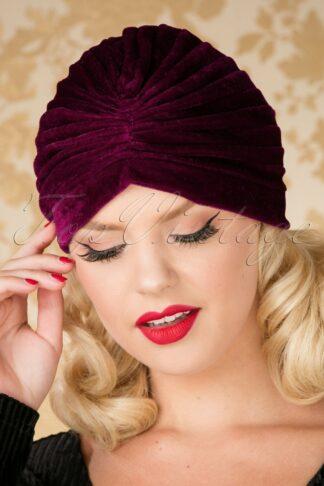 20s Warlock Velvet Turban Hat in Burgundy