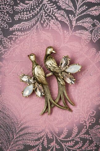 30s Crystal Love Birds Brooch in Gold
