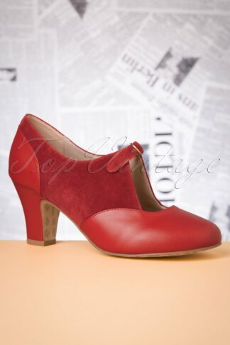 40s Ava Fun At The Office Pumps in Warm Red