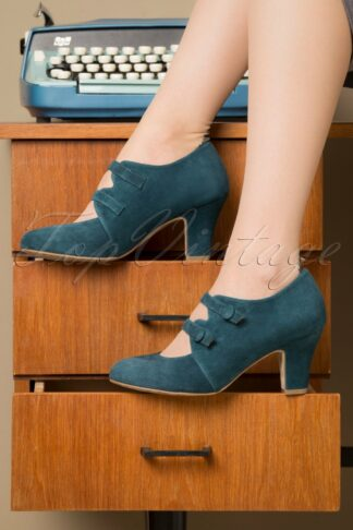 40s Ava Means Business Pumps in Teal