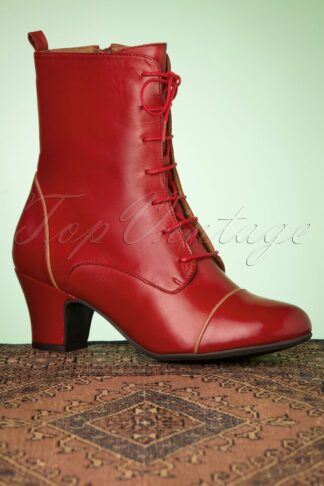 40s Fabian Leather Ankle Booties in Red