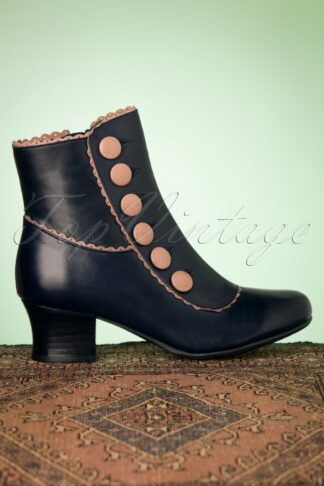 40s Fido Leather Ankle Booties in Dark Denim