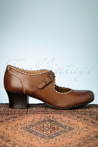 40s Francine Leather Pumps in Brandy
