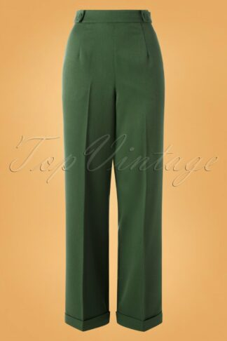 40s Party On Classy Trousers in Dark Green