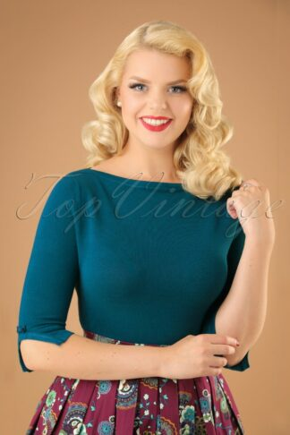 50s Addicted Sweater in Teal
