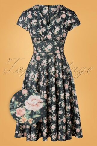 50s Addison Floral Polka Swing Dress in Grey