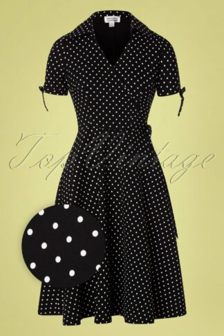 50s Bianca Polkadot Wrap Swing Dress in Black