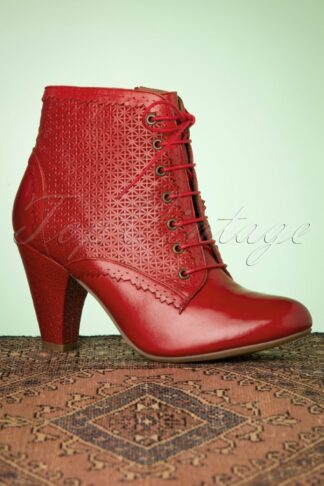 50s Channing Leather Ankle Booties in Red