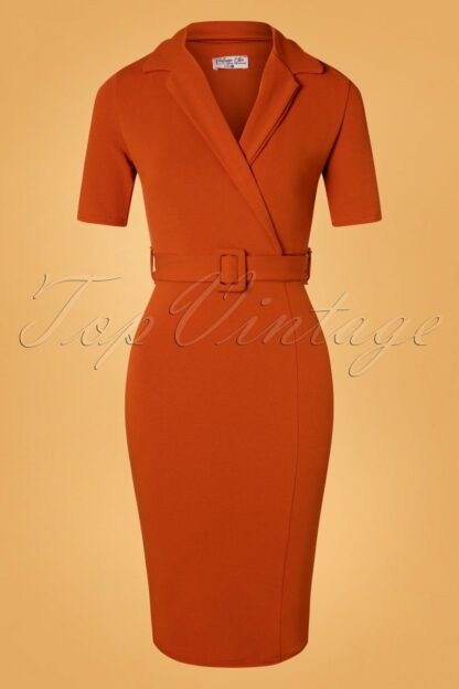 50s Denysa Pencil Dress in Cinnamon
