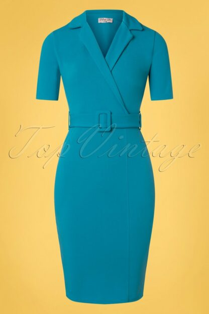 50s Denysa Pencil Dress in Mosaic Blue