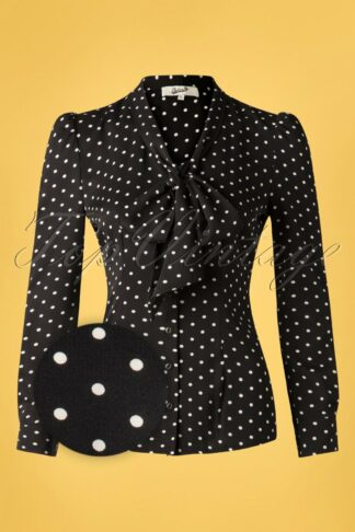 50s Emerson Dots Blouse in Black and Ivory