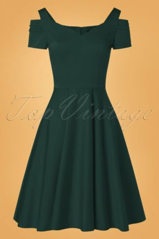 50s Helen Swing Dress in Dark Green