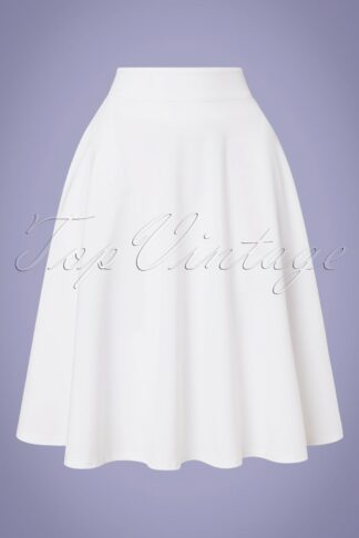 50s High Waist Thrills Swing Skirt in White