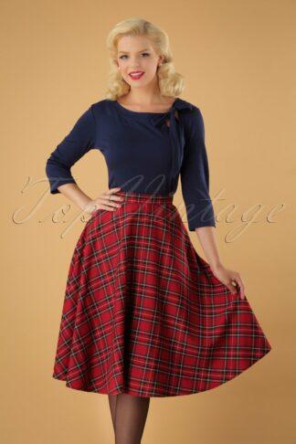 50s Irvine Tartan Swing Skirt in Red