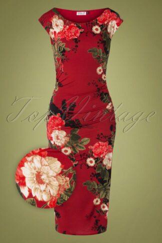 50s Jacintha Pencil Midi Dress in Wine Floral