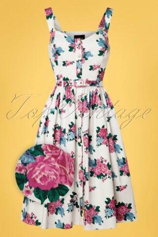 50s Jemima Floral Swing Dress in White
