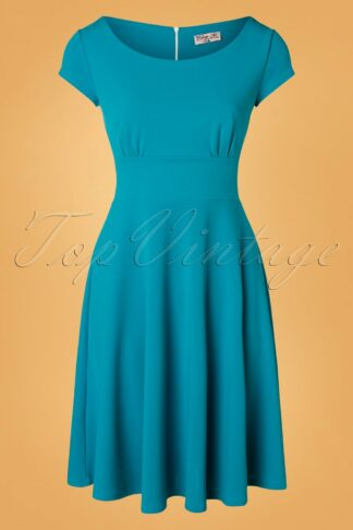 50s Kimberley Swing Dress in Mosaic Blue