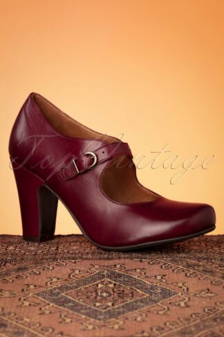 50s Krissy Leather Mary Jane Pumps in Burgundy