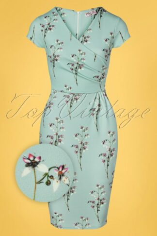 50s Kristina Floral Pencil Dress in Duck Egg Blue