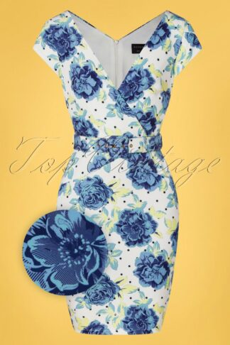 50s Leilani Wrap Pencil Dress in Ivory and Blue