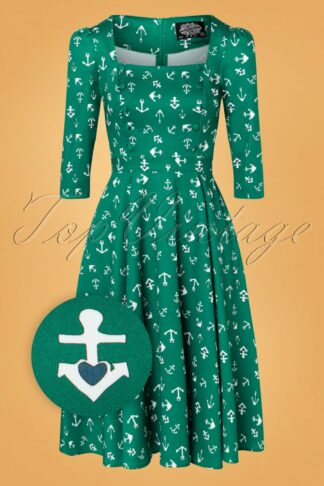 50s Madeline Anchor Swing Dress in Green