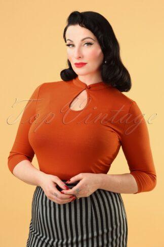 50s Mandarin Collar Peek a Boo Top in Rust