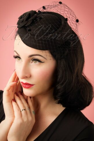 50s Marilyn Fascinator in Black