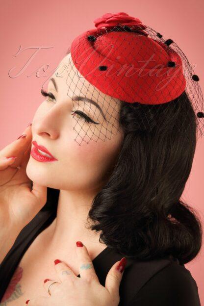 50s Marilyn Fascinator in Red