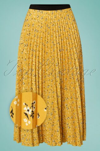 50s Marilyn Floral Pleated Skirt in Mustard