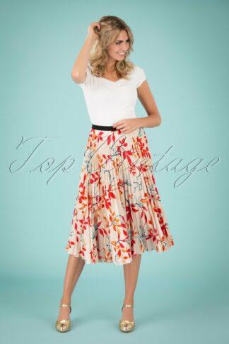 50s Marilyn Leaves Pleated Skirt in Peach
