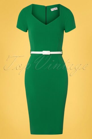 50s Melany Pencil Dress in Emerald Green