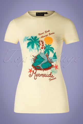50s Mermaid T-Shirt in Pastel Yellow