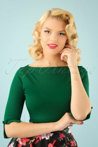 50s Modern Love Top in Forest Green