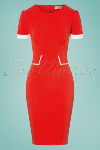 50s Patsy Pencil Dress in Bright Red