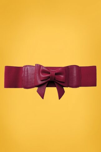50s Play It Right Bow Belt in Burgundy