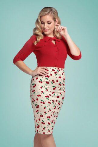 50s Polly Cherry Love Pencil Skirt in Cream