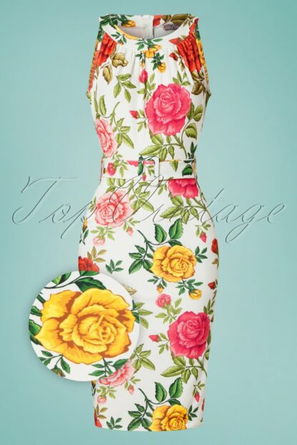 50s Rêve Floral Pencil Dress in White
