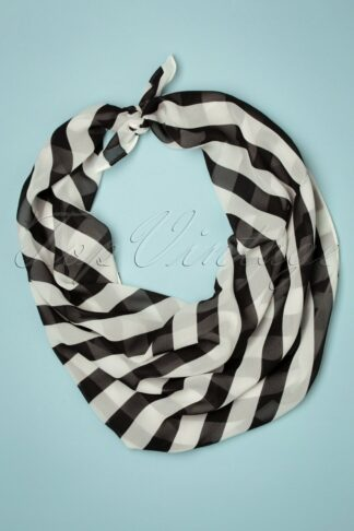 50s Striped Hair Scarf in Black and White