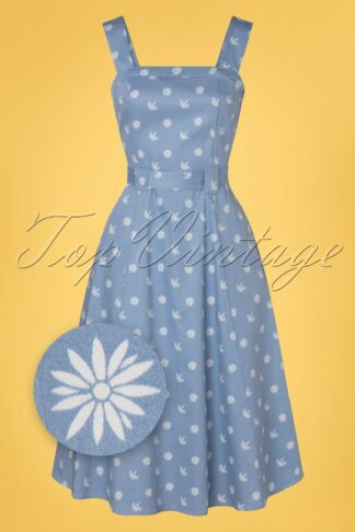 50s Tess Ditsy Floral Swing Dress in Blue